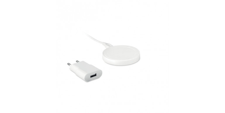 Set cargador inalámbrico en ABS Wireless plato set blanco